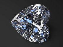 Beautiful heart-shaped diamond. Render with refraction and caustic Stock Photography