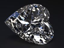 Beautiful heart-shaped diamond. Render with refraction and caustic Royalty Free Stock Photos