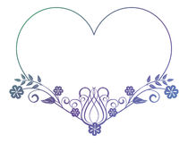 Beautiful heart-shaped flower frame with gradient fill. Stock Photography