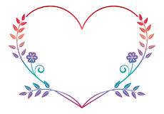 Beautiful heart-shaped flower frame with gradient fill. Color silhouette  frame Stock Image