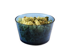Beautiful heart-shaped pasta in plastic bowl on a white background isolated stock photos