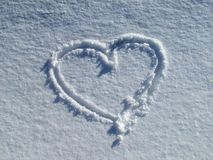 Beautiful heart in the snow Royalty Free Stock Photography