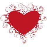 Beautiful heart with swirls. Illustration of beautiful heart with swirls Royalty Free Stock Photos