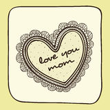 Beautiful heart with text for Happy Mother's Day celebration. Stock Photo