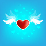 Beautiful heart on the wings of love Royalty Free Stock Photography