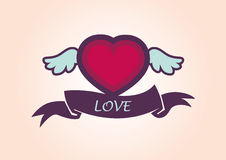 Beautiful heart with wings. Winged heart with a ribbon. Illustrated vector heart. Illustration for valentines day, Lovers and joy. Icon for Valentine's Day Royalty Free Stock Image