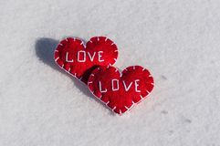 Beautiful hearts on a snow backgroud Royalty Free Stock Photography