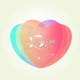 Beautiful hearts for Valentines Day celebration. Colorful hearts with text Love for Happy Valentines Day celebration on white background Royalty Free Stock Images