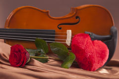 Beautiful hearts and violin! Royalty Free Stock Photography