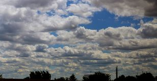 Beautiful heavenly landscape with blue sky and clouds stock photos