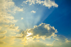 Beautiful heavenly landscape with the sun in the clouds. Stock Photography