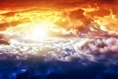 Free Beautiful Heavenly Landscape With The Sun In The Clouds Royalty Free Stock Photography - 181633937