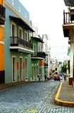 Straight to Downtown. Beautiful and heavy travelled blue brick road to downtown San Juan, Puerto Rico Stock Images