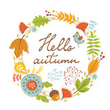 Beautiful hello autumn card with wreath Royalty Free Stock Photo
