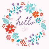 Beautiful hello card with floral wreath Royalty Free Stock Photos