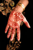 Beautiful Henna, Mehendi on the brides hand stock photography