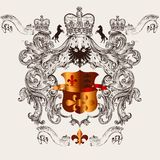 Beautiful heraldic design with shield, crown and fleur de lis Royalty Free Stock Photos