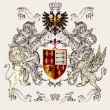 Beautiful heraldic design with shield, crown, griffin and lion Royalty Free Stock Photos