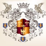 Beautiful heraldic design with shield in vintage style Stock Image