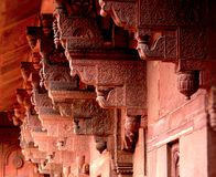 Artistic Carving on the Columns at Heritage Agra Fort royalty free stock photography