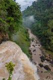 Beautiful hidden Ekom Waterfall deep in the tropical rain forest of Cameroon, Africa.  Stock Photos