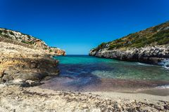 Beautiful hidden sandy beach with turquoise water in Mallorca. Spain Royalty Free Stock Photos