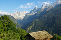 Beautiful high Alps near Soglio, Switzerland. Europe Stock Photo