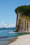 Beautiful high cliff with a forest at the top by sea. Rock Kiselev Stock Photo