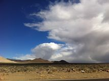 Beautiful High Desert Mountain Sky & Clouds. Clear Blue Sky of Nevada royalty free stock image