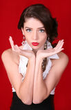 Beautiful High Fashion Woman on Red Background royalty free stock photo