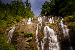 Foamy Tropical Waterfall Jets on Rocks in Jungle Royalty Free Stock Images