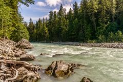Beautiful high mountain green river in Nairn Falls Provincial Park British Columbia Canada. Royalty Free Stock Photos