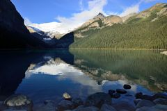 Beautiful high mountains of the Canadian Rockies as seen from Lake Louise reflecting in an alpine lake along the Icefields Parkway stock photos