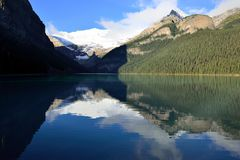 Beautiful high mountains of the Canadian Rockies as seen from Lake Louise reflecting in an alpine lake along the Icefields Parkway stock images