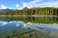 Beautiful high mountains of the Canadian Rockies reflecting in an alpine lake along the Icefields Parkway between Banff and Jasper. In the fall Royalty Free Stock Images