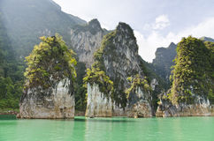Beautiful high mountains and green river ( Guilin of Thailand ) Royalty Free Stock Photo