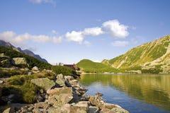 Beautiful high mountains view, tatry in poland. Beautiful lake and mountain view, tatry poland. Dolina Pięciu Stawów Polskich royalty free stock image