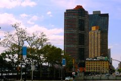 Beautiful high-rise buildings on a sunny day in New York royalty free stock photography