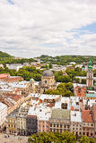 Beautiful high up view of Lviv, Ukraine Royalty Free Stock Photo