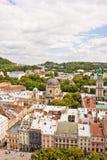 Beautiful high up view of Lviv, Ukraine Royalty Free Stock Photo