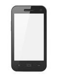 Beautiful highly-datailed black smartphone. On white background, 3d render Royalty Free Stock Image