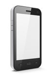 Beautiful highly-datailed black smartphone. On white background, 3d render Royalty Free Stock Photo