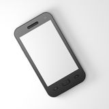 Beautiful highly-datailed black smartphone. On white background, 3d render Royalty Free Stock Photos