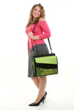 Beautiful Highschool Student. Beautiful 16 year old girl with bookbag.  Shot in studio over white Stock Images