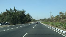 Beautiful Highways of Modern India. New high quality express highway roads in India Royalty Free Stock Photography