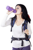 Beautiful hiker drinks fresh water Stock Photos