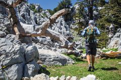 Hiker on lycian way Stock Photo