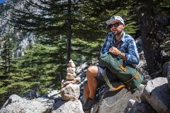 Hiker on lycian way Stock Images