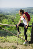Beautiful hiker woman enjoying the view Stock Photography