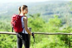 Beautiful hiker woman enjoying the view Royalty Free Stock Photo